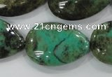 CAA104 15.5 inches 20*30mm flat teardrop grass agate gemstone beads