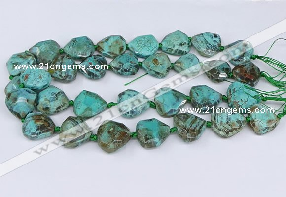 CAA1138 18*20mm - 25*35mm faceted freeform dragon veins agate beads