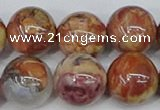 CAA1225 15.5 inches 14mm round gold mountain agate beads