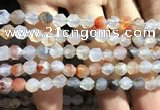 CAA1230 15.5 inches 6mm faceted nuggets matte dendritic agate beads