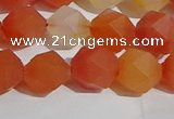 CAA1238 15.5 inches 10mm faceted nuggets matte red agate beads