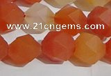 CAA1239 15.5 inches 12mm faceted nuggets matte red agate beads