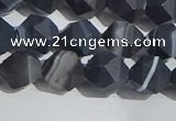 CAA1243 15.5 inches 8mm faceted nuggets matte black line agate beads
