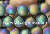 CAA1278 15.5 inches 6mm round matte plated druzy agate beads