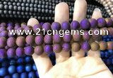 CAA1314 15.5 inches 10mm round matte plated druzy agate beads