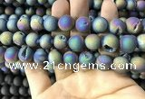 CAA1359 15.5 inches 14mm round matte plated druzy agate beads