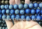 CAA1378 15.5 inches 16mm round matte plated druzy agate beads