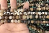 CAA1475 15.5 inches 6mm round matte banded agate beads wholesale