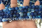 CAA1506 15.5 inches 8mm round matte banded agate beads wholesale