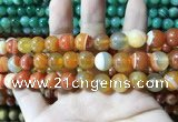 CAA1612 15.5 inches 12mm round banded agate beads wholesale