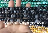 CAA1641 15.5 inches 8mm faceted round banded agate beads