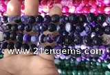 CAA1651 15.5 inches 8mm faceted round banded agate beads