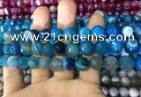 CAA1667 15.5 inches 10mm faceted round banded agate beads