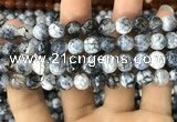 CAA1726 15 inches 10mm faceted round fire crackle agate beads