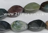 CAA198 15.5 inches 10*18mm twisted rice indian agate beads wholesale