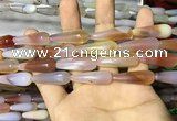 CAA2065 15.5 inches 10*30mm teardrop agate beads wholesale