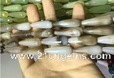 CAA2092 15.5 inches 10*30mm faceted teardrop agate beads