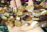 CAA2171 15.5 inches 15*20mm oval banded agate beads wholesale
