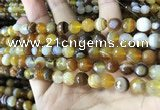 CAA2206 15.5 inches 8mm faceted round banded agate beads