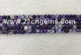 CAA2211 15.5 inches 4mm faceted round banded agate beads