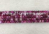 CAA2218 15.5 inches 4mm faceted round banded agate beads