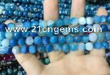 CAA2251 15.5 inches 8mm faceted round banded agate beads