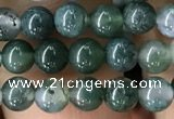 CAA2356 15.5 inches 4mm round moss agate beads wholesale