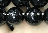 CAA2407 15.5 inches 14mm round black agate beads wholesale