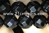 CAA2418 15.5 inches 10mm faceted round black agate beads wholesale
