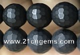 CAA2439 15.5 inches 8mm faceted round matte black agate beads
