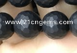 CAA2440 15.5 inches 10mm faceted round matte black agate beads