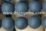 CAA2450 15.5 inches 10mm round matte black agate beads wholesale