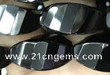 CAA2492 15.5 inches 10*20mm faceted & twisted rice black agate beads