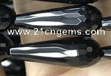 CAA2518 15.5 inches 8*25mm faceted teardrop black agate beads