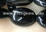 CAA2538 15.5 inches 10*14mm oval black agate beads wholesale