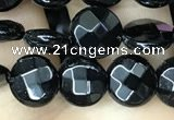 CAA2579 15.5 inches 8mm faceted coin black agate beads wholesale