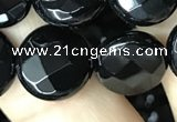 CAA2585 15.5 inches 20mm faceted coin black agate beads wholesale