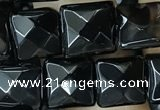 CAA2608 15.5 inches 10*10mm faceted square black agate beads