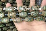 CAA2669 15.5 inches 13*22mm - 15*23mm drum tibetan agate dzi beads