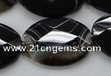 CAA275 15.5 inches 18*25mm faceted oval black line agate beads