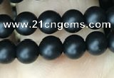 CAA2761 15.5 inches 4mm round matte black agate beads wholesale
