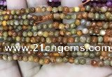 CAA2841 15 inches 4mm faceted round fire crackle agate beads wholesale