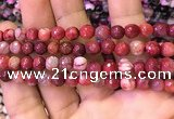 CAA2901 15 inches 6mm faceted round fire crackle agate beads wholesale