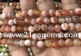 CAA2920 15 inches 6mm faceted round fire crackle agate beads wholesale