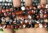 CAA2978 15 inches 8mm faceted round fire crackle agate beads wholesale