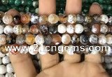 CAA2986 15 inches 8mm faceted round fire crackle agate beads wholesale
