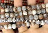 CAA2988 15 inches 8mm faceted round fire crackle agate beads wholesale