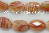 CAA302 15.5 inches 13*18mm faceted oval red line agate beads