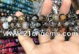 CAA3050 15 inches 10mm faceted round fire crackle agate beads wholesale