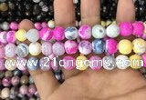 CAA3064 15 inches 10mm faceted round fire crackle agate beads wholesale